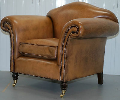 Rrp £1795 Retail Perfect Condition Leather Chairs Of Bath Isben Leather Armchair