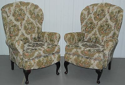 Pair Of Leather Chairs Of Bath Needlework Upholstered Chesterfield Armchairs