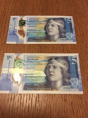 NEW MINT Royal Bank of Scotland RBS Polymer £5 Notes AA Code 029709+710