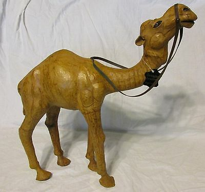"""Vintage 16""""  Leather Wrapped Dromedary Camel Made in India"""