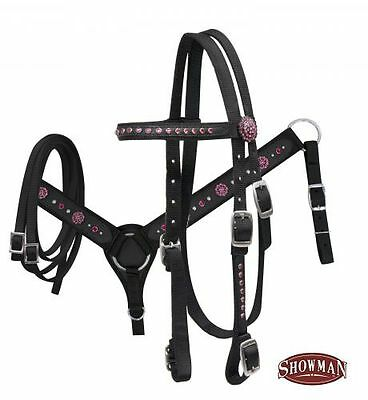 Showman Horse size nylon bling bridle and breastplate set. PINK