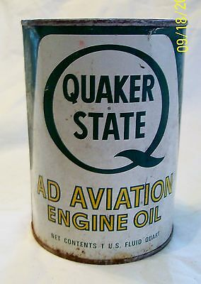 Collectible Vintage Quaker State Ad Aviation Engine Oil Full Can