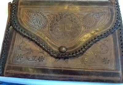 Vintage Brown Leather Clutch Bag Embossed With Indian Hand Work,