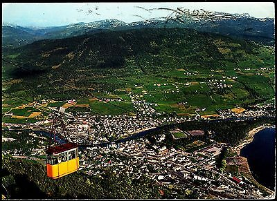 Norway- Aerial View Of Voss With Cable Car Posted 1974 Stamped