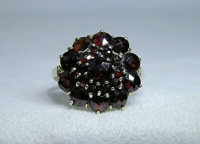 Antique Victorian 10ct Yellow Gold Garnet Stone Flower Style Dome Ring Sz 5.25
