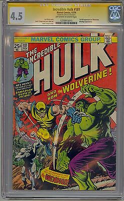 Incredible Hulk #181 Cgc 4.5 Ss Off-White Pages 1St Wolverine Signed Stan Lee