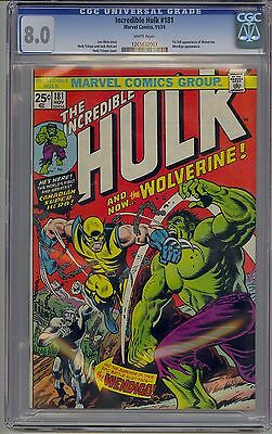 Incredible Hulk #181 Cgc 8.0 Off-White Pages 1St Wolverine