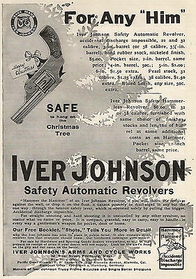 1906 Ad Iver Johnson Automatic Revolvers Gun Firearms  Or Duplex Phonograph