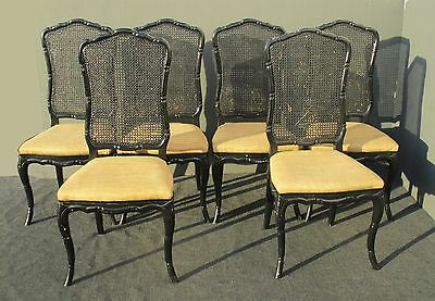 Six Vintage French Country Black Carved Wood Cane Back Burlap Seat DINING CHAIRS