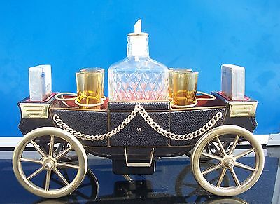 Vintage Musical Carriage Wagon Decanter Shot Glass Playing Cards Bar Set Works