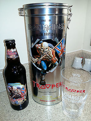 Iron Maiden Trooper Etched Beer Glass & Collectable Tin & Empty Bottle (No Beer)