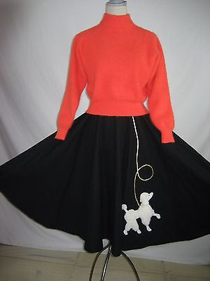 Poodle Skirt and Sweater Outfit Costume Angora  Black Orange Sz S