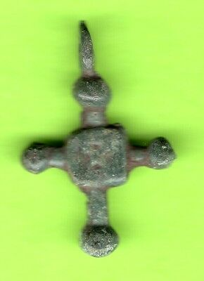 Russia Kiev type Bronze Cross Pendant Viking time 10-12th ca 1100 AD RARE 54