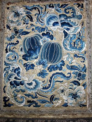 """Antique Chinese silk/fabric embroidered panel 14"""" x 17"""""""
