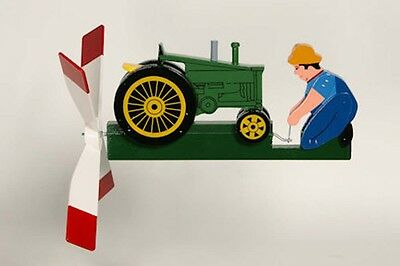 Antique Green Tractor Whirligig - Handmade Handpainted Wood - Made USA