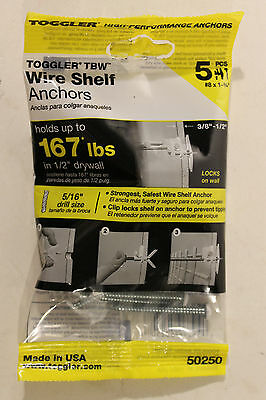 Toggler TBW Wire Shelf Anchor for Drywall Wall Clip 50250 pack of 5 - New