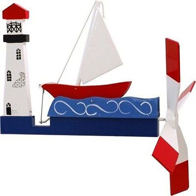 Sailboat and Lighthouse Whirligig - Handmade Handpainted Wood - Made in USA