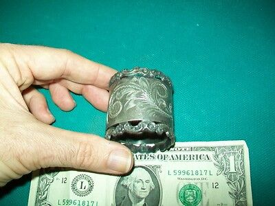 very old metal weird Napkin holder ? vintage ? rare ? fancy with designs etched
