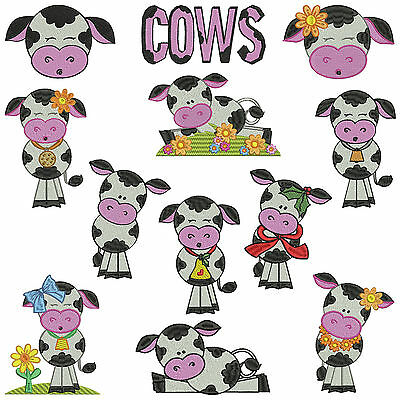 * COWS 1 * Machine Embroidery  Patterns * 12 Designs in 3 sizes