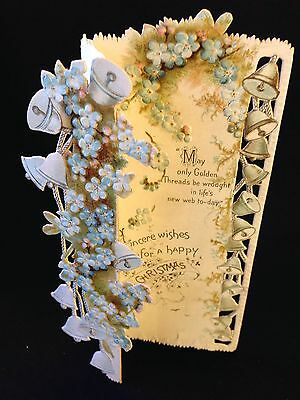 Raphael Tuck & Sons VICTORIAN Antique CHRISTMAS Embossed Greeting Card VIOLETS