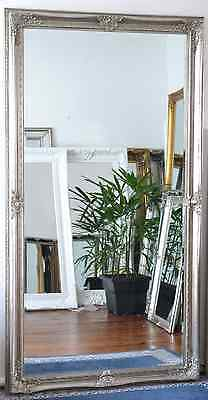 2 Metre Tall Silver Bevelled Wall Mirror & Frame, Antique, Chic, 200cm x 110cm