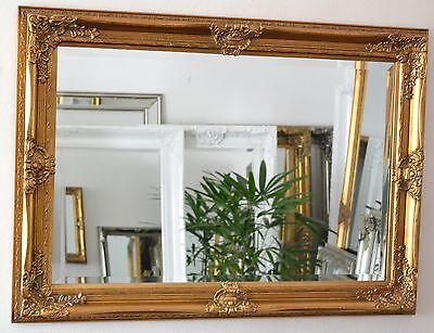 Gold Large Bevelled Wall Mirror & Frame, Antique, Chic, 110cm x 80cm