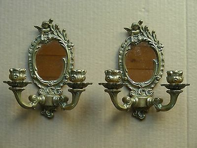 Vintage Pair Of Cherub Brass Wall Sconces With Mirrors