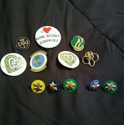 Vintage 1980 Girl Scout MEMBERSHIP PINS Mixed Lot GSUSA Collectible #4