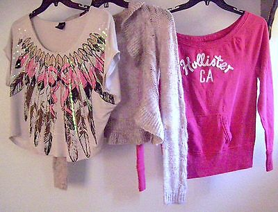 Lot of 3 Pink Tops - S & M  - Decree, Hollister & Decoded - Good Cond - LRCCWM