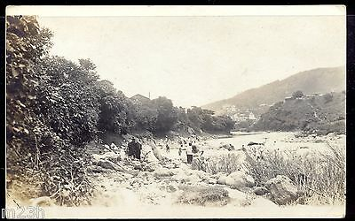 Honduras; Photo post card of the 1920´s or 1930´s. People washing clothes.
