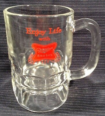 "Enjoy Life With Miller High Life 5 "" Heavy Glass Beer Vintage Anchor Hocking"