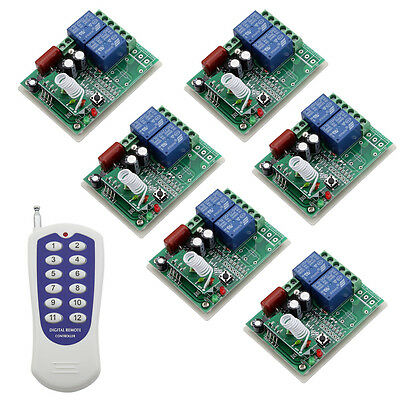 RF 220V 6X2CH Relay Wireless Smart Remote Control Switch Home&Ind Transmitter
