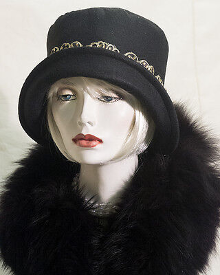 VINTAGE INSPIRED 1920s 30s BLACK STYLE CLOCHE HAT  GATSBY