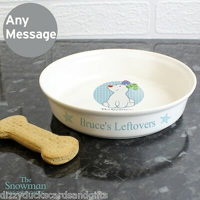 Personalised The Snowman Snowdog Blue Food Water Cat Dog Bowl Pet Gift/P0305G60