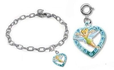 CHARM IT! Disney Tinkerbell Heart Charm & Charm Bracelet Set. Delivery is Free