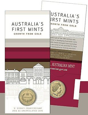 2016 $1 One Dollar Coin 'S' Counterstamp Australia's First Mints Carded
