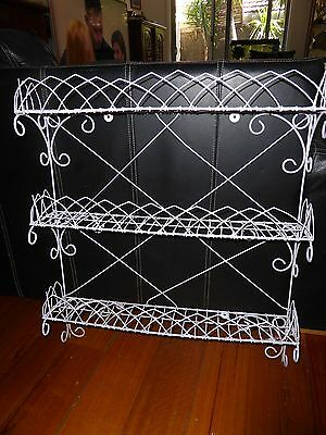 French Provencial Laura Ashley White Iron 3 Shelf Stand For Any Room