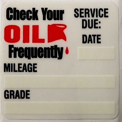 200 OIL CHANGE STICKERS Reminder Sticker Decals 2X2 Static Cling