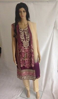 Ready made 3 piece linen suit with embroidery - Purple - Medium