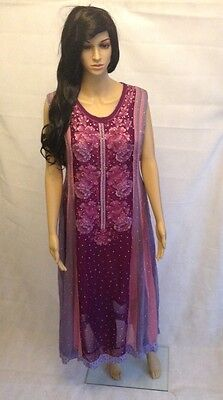 3 piece ready made Chiffon frock - Lilac and Pink - Large - AF30