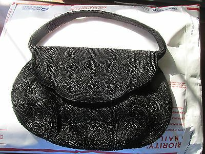 Vintage Black Beaded Purse Made In France