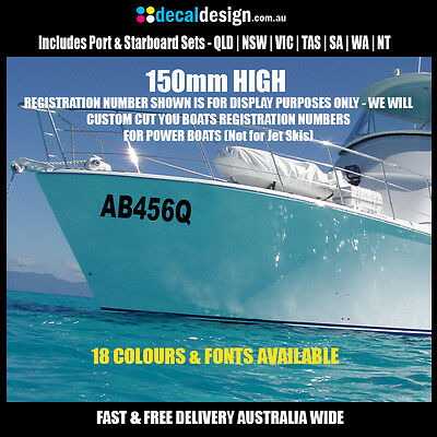 Boat Registration Number Set 150mm High Rego Decal Custom Letters & Numbers