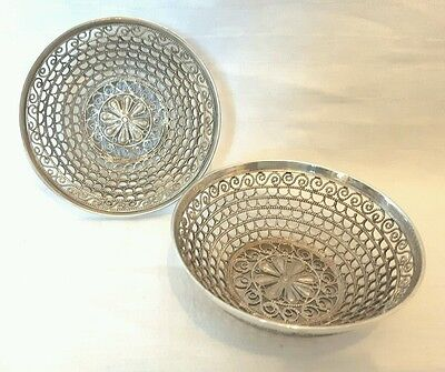 Quality Pair of Continental Solid Silver Filigree Bon Bon Dishes 87g