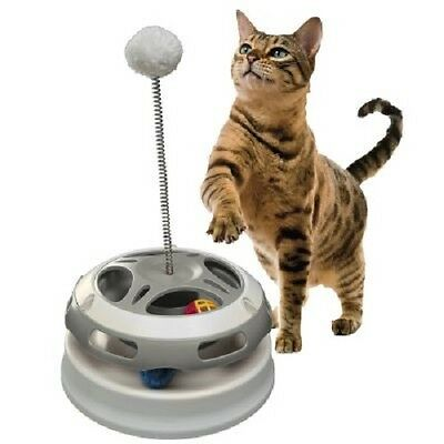 Cat Toy Roundabout 3 Games in 1 Flashing Glitter & Wobbling Plush Balls Activity