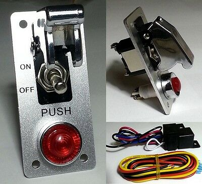 Racing 12V Car Toggle Missile Switch Panel chrome silver red led indicator light