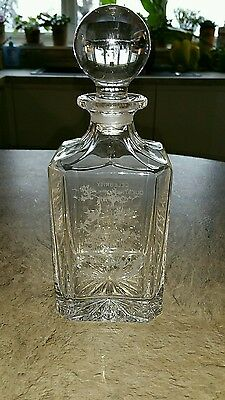 """Crystal Cut Glass Decanter with """"The Water of Life"""" Etched and Celebrity Owner"""