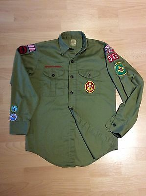 """Boy Scouts of America Green Cotton Shirt 13"""" Collar with original badges"""