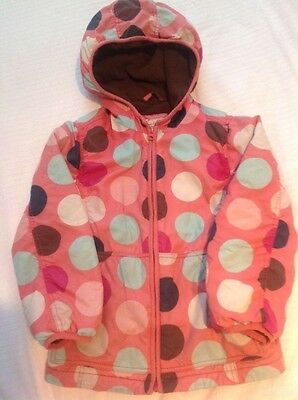 Boden girls anorak coat jacket 7-8 pink spots
