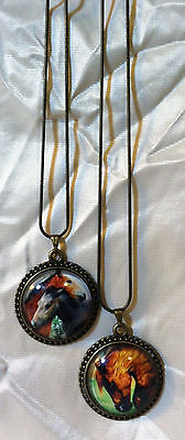 2 Substantial GLASS DOME HORSE PENDANTS 18KGP Snake Chain FUN COLORFUL GIFTS!!!