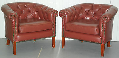 Pair Of Wide Aged Leather Chesterfield Tub Armchairs In Stunning Condition